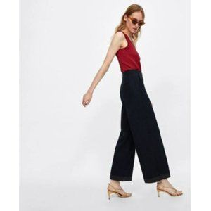 New ZARA Wide-Leg with Contrasting Topstitching